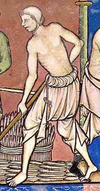 Paysan travaillant la terre, vêtu de ses seules braies et de son cale.